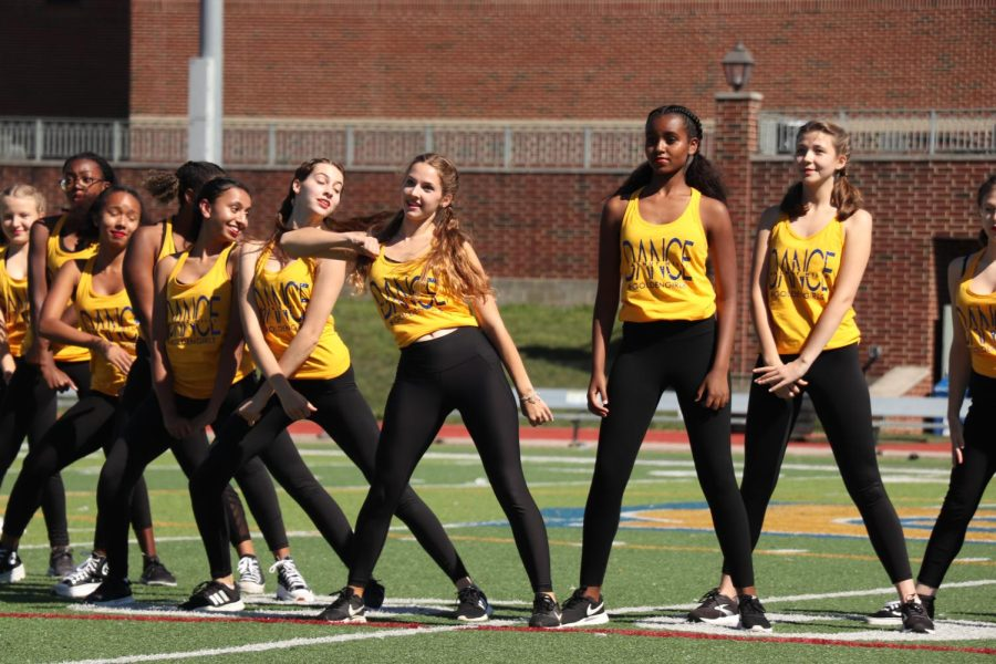 """The WHHS dance team performs at the pep rally on Sep. 24. """"We're just ready to show off what we got and to get everybody excited for the year,"""" Lael Ingram, '24, said."""