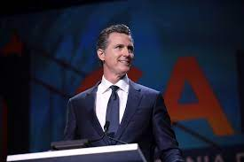 Gavin Newson speaking at the 2019 California Democratic Party State Convention at the George R. Moscone Convention Center in the city of San Francisco, California.