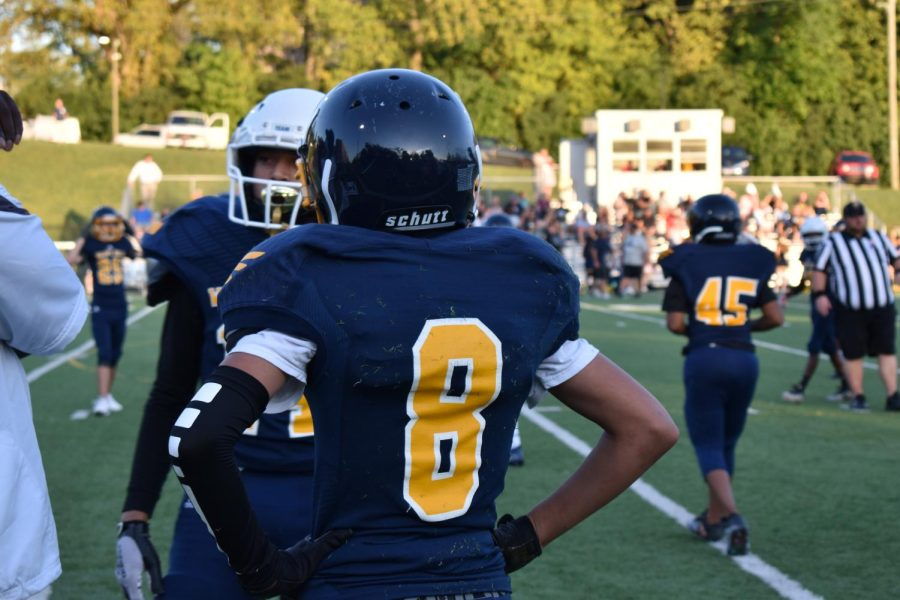 """Number 8, Braylon Dennis, is a Wide-receiver on the 7th grade football team. The team practiced and conditioned 2 days a week throughout the summer and now 4 days a week since school is back in session. Dennis is pumped for the season as he says """"I'm excited and it's just super fun to play."""""""