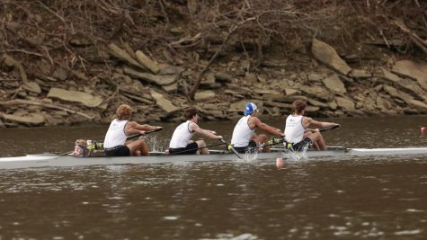 From left to right: Grant Dutro, '21, SENIOR Joe Adler, Carter Jacobs, '21 and SENIOR Nick Smyth rowed together in the varsity four. In the 2020-21 season, Smyth along with the other three rowers were considered the top rowers out of the guys varsity.
